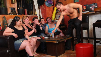 The amazing party features fat whores with great bodies taking boner deep and so hard